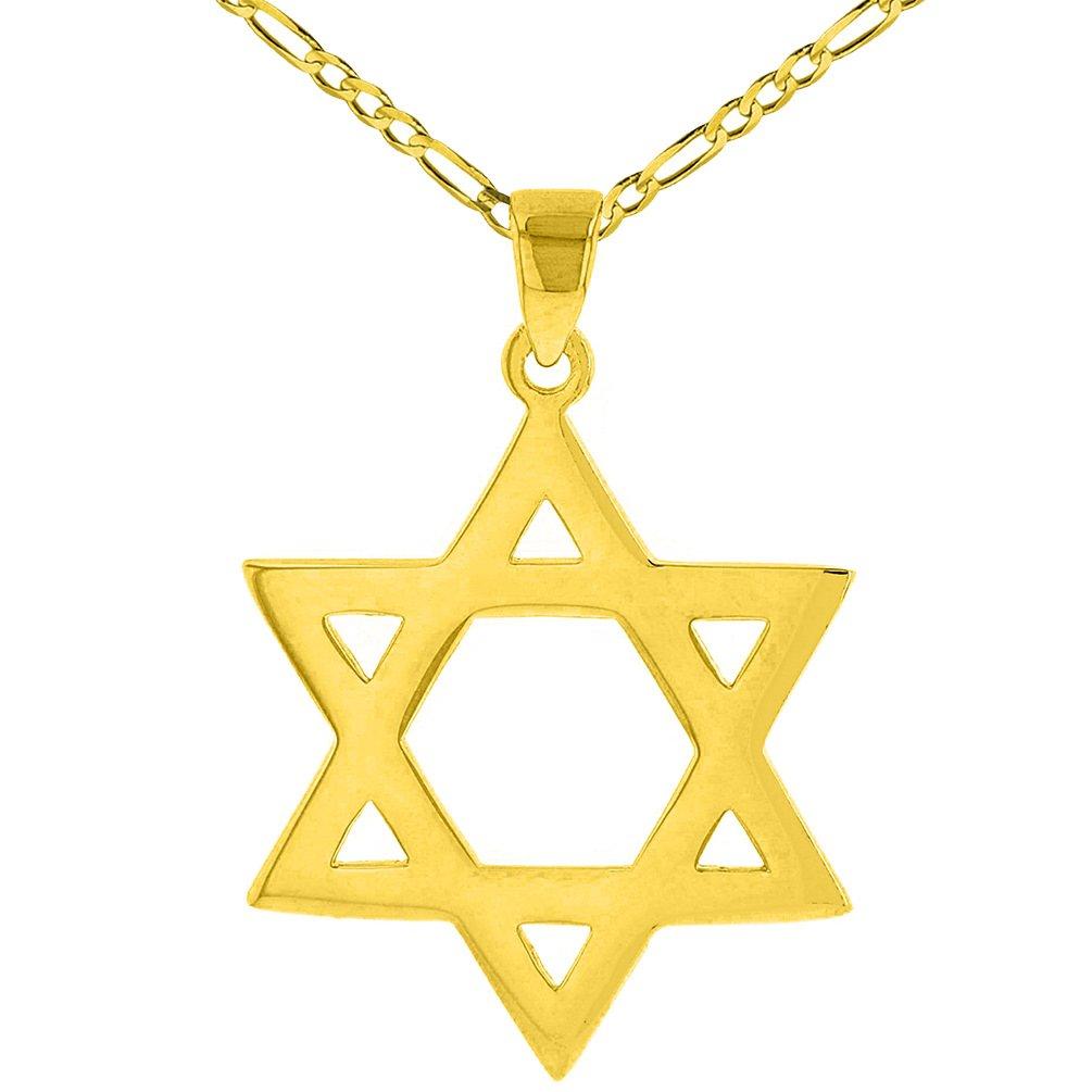 14K Yellow Gold Star Of David Hebrew Pendant