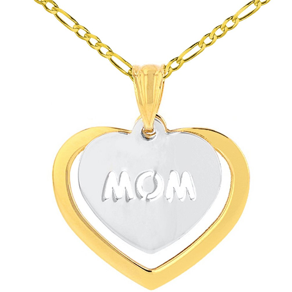 14K Two-Tone Gold Double Heart Mom Pendant