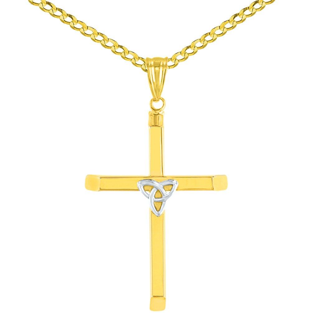 14K Two Tone Gold Plain Trinity Cross Pendant