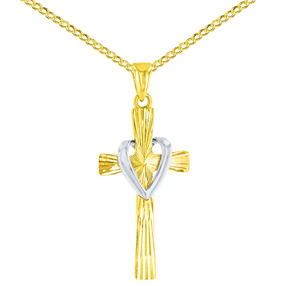 14K Two Tone Gold Cross with Heart Pendant
