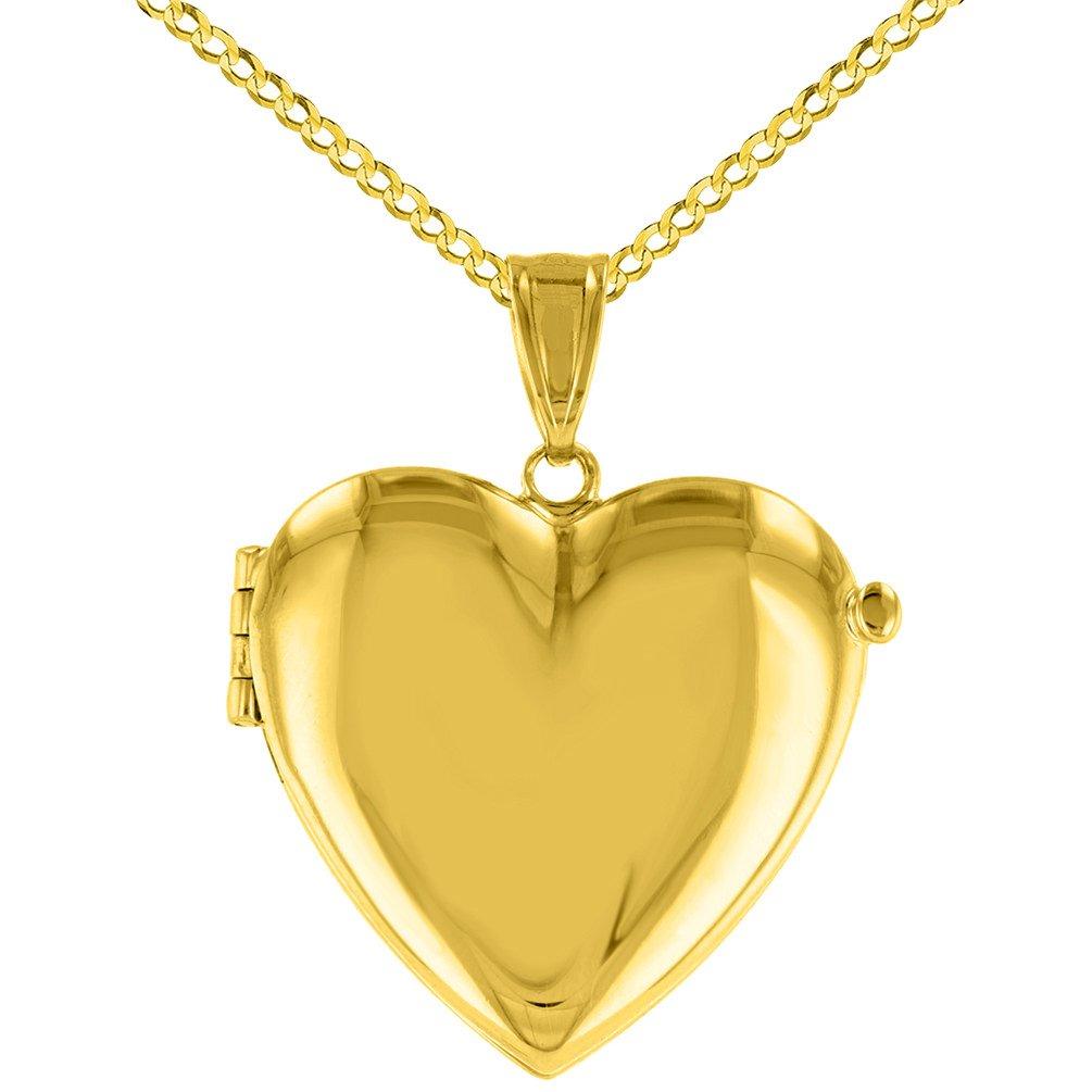 14K Yellow Gold Heart Shaped Locket Pendant