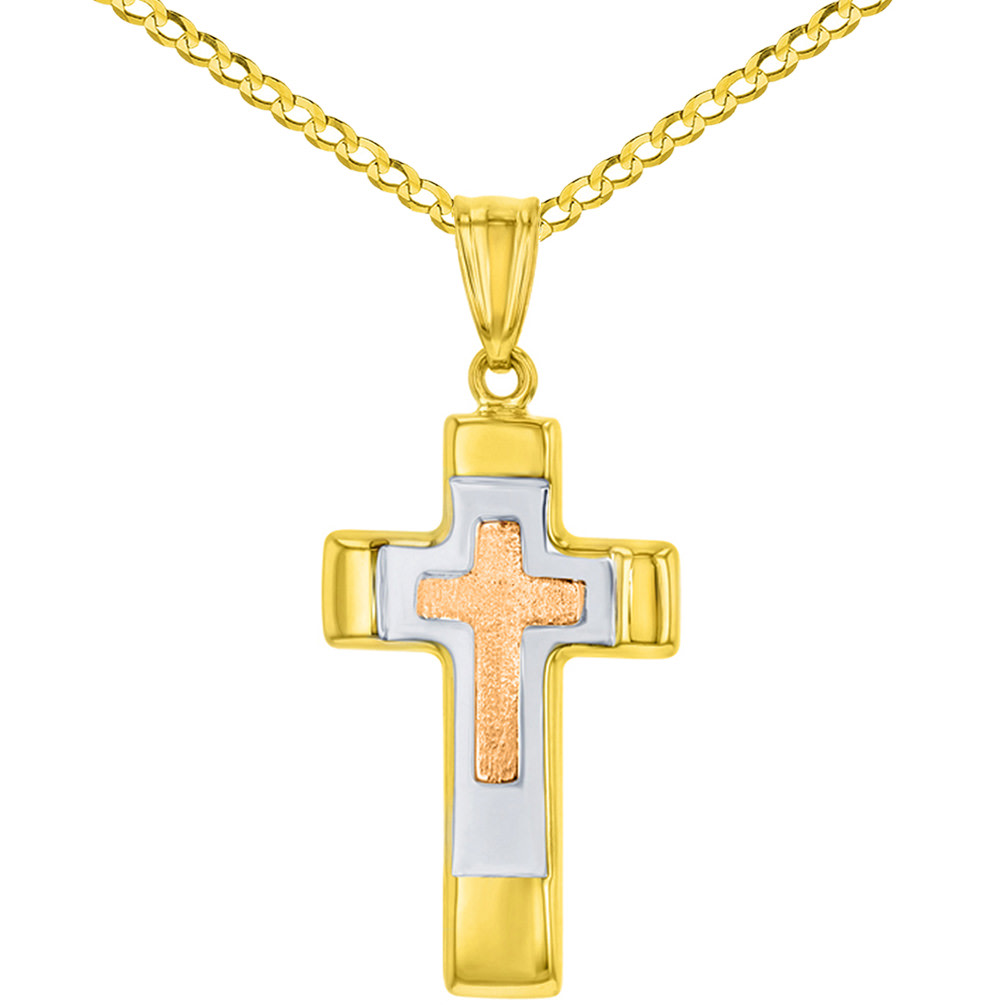14K Rose & Yellow Gold Tricolor Religious Cross Charm Pendant with Cuban Chain Necklace