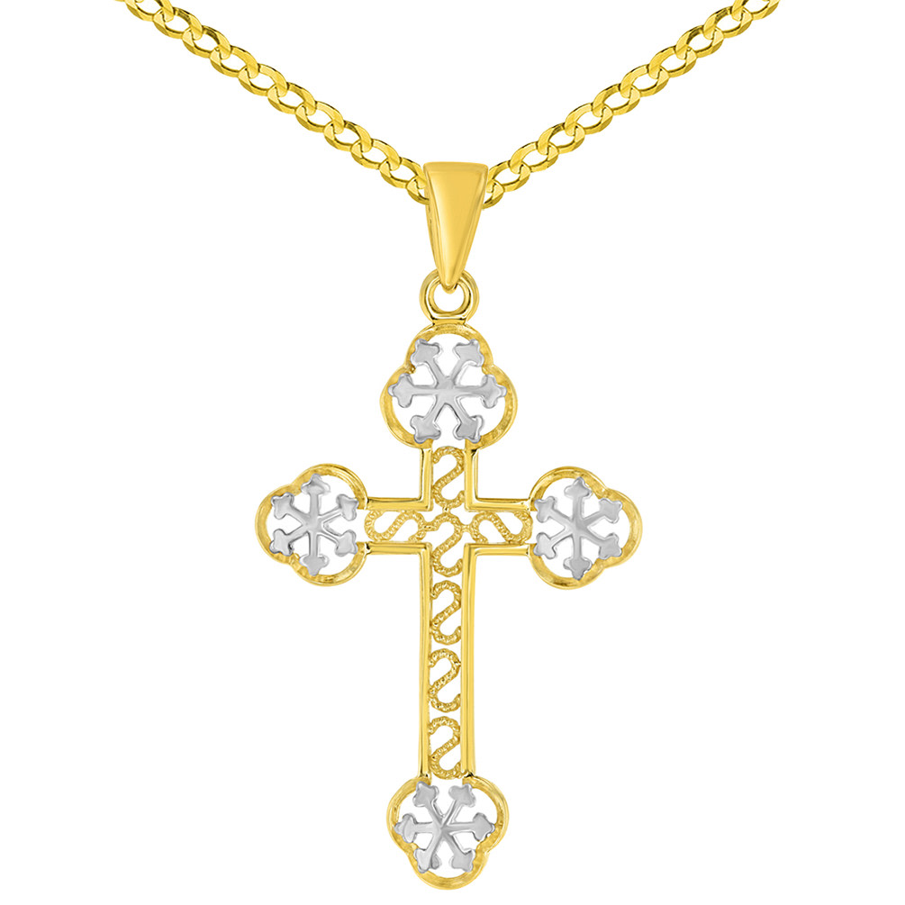 14K Yellow Gold Eastern Orthodox Cross Charm Pendant Necklace