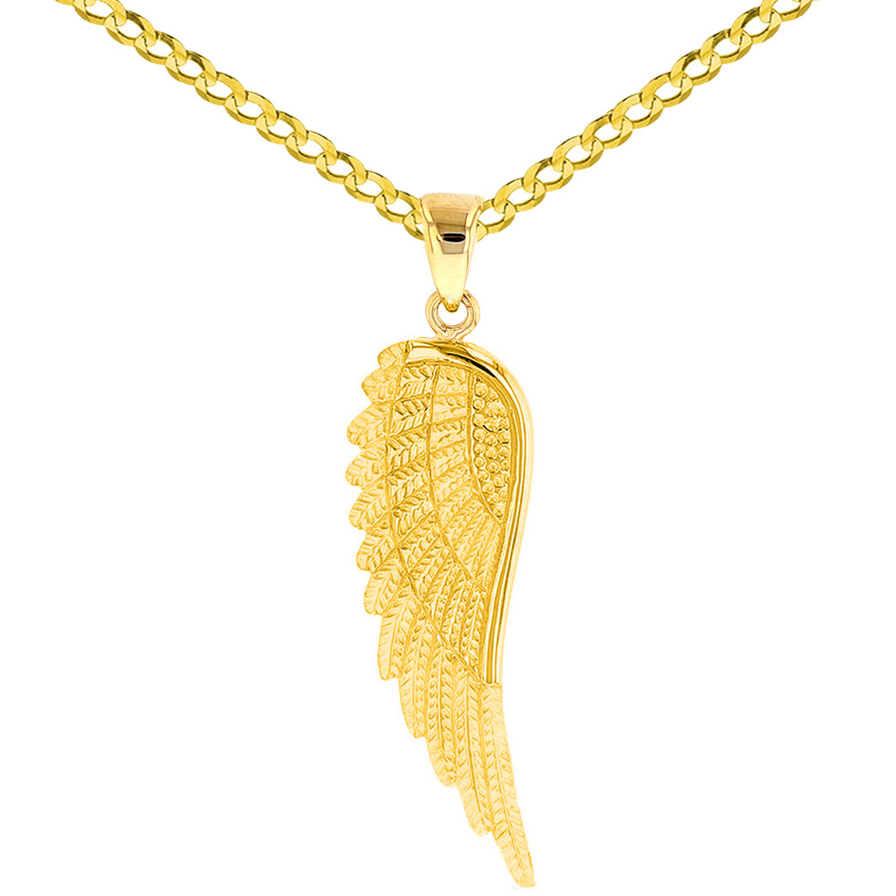Yellow Gold Textured Angel Wing Charm Pendant