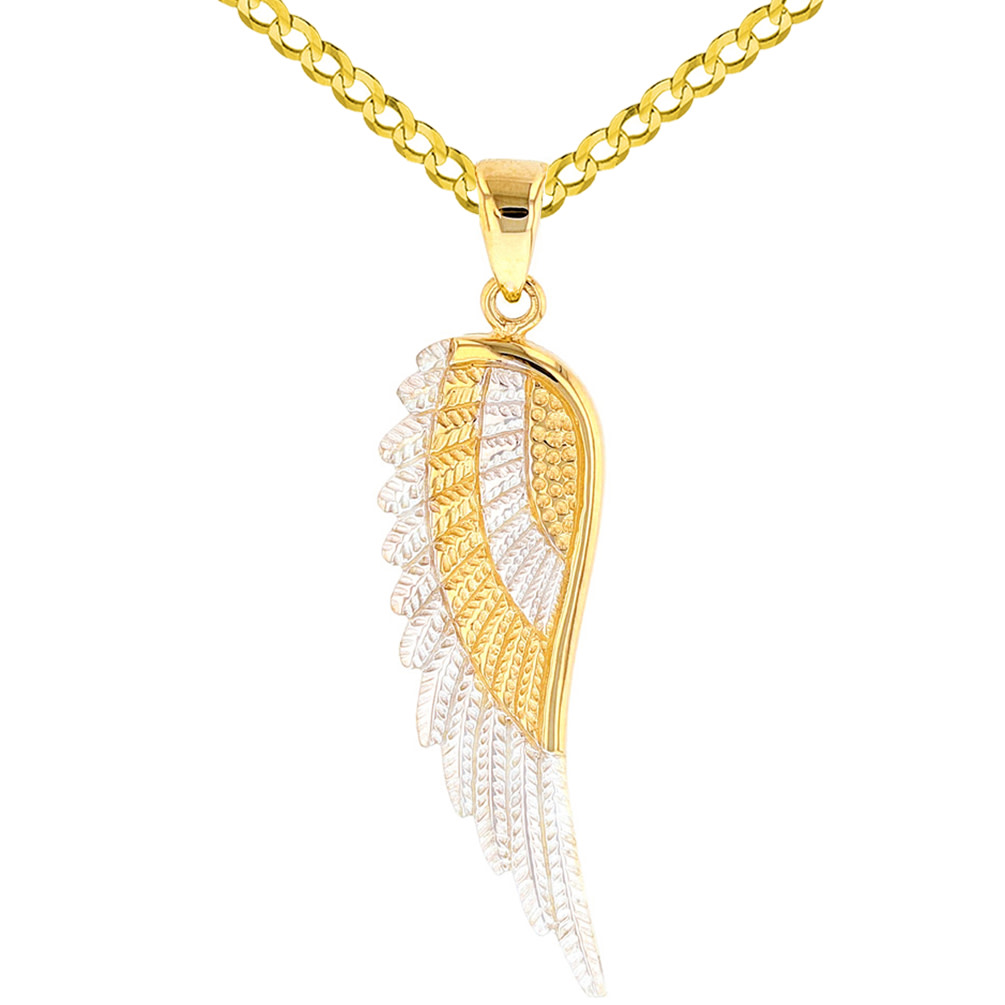 Yellow Gold Textured Angel Wing Charm