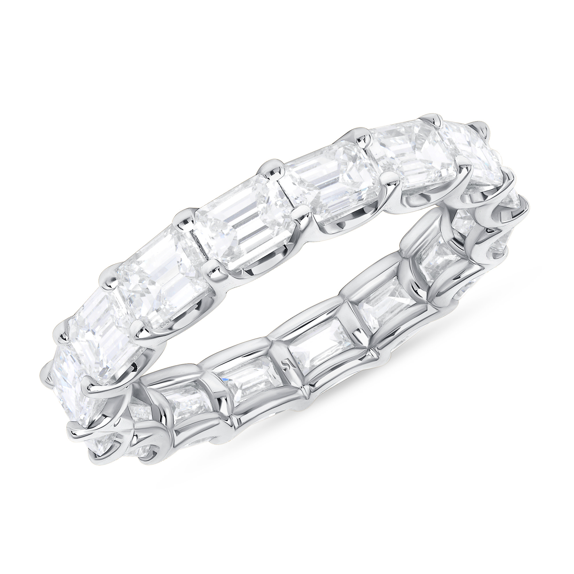 EastWest Emerald Cut Diamond Eternity Band | Sabrina A Inc