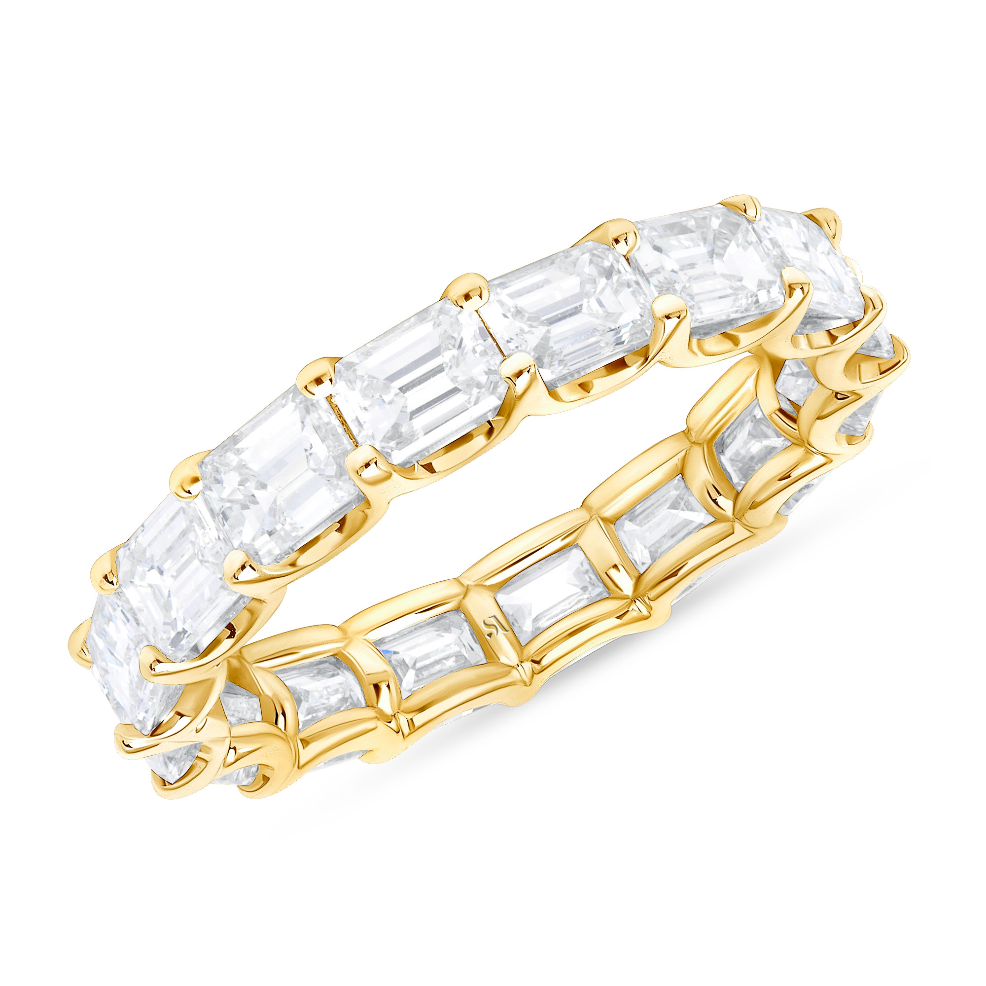 emerald cut eternity band yellow gold | emerald cut eternity ring