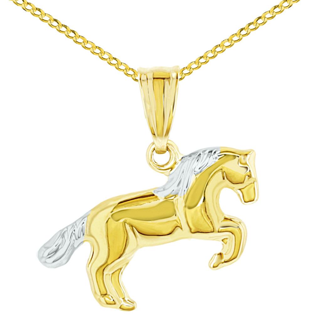 14k Yellow Gold Running Horse Charm