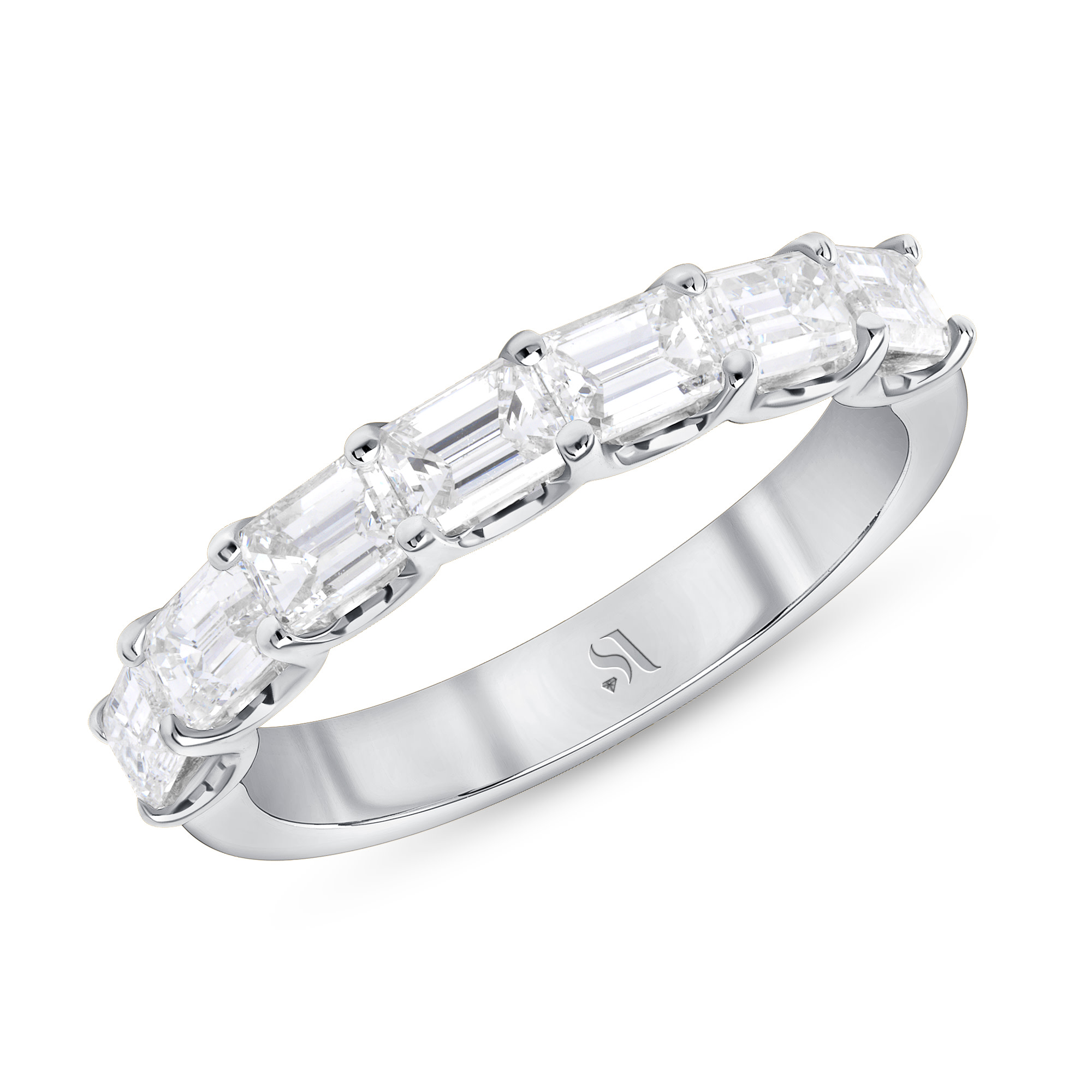 EastWest Side Emerald Cut Diamond Halfway Eternity Band | Sabrina A Inc