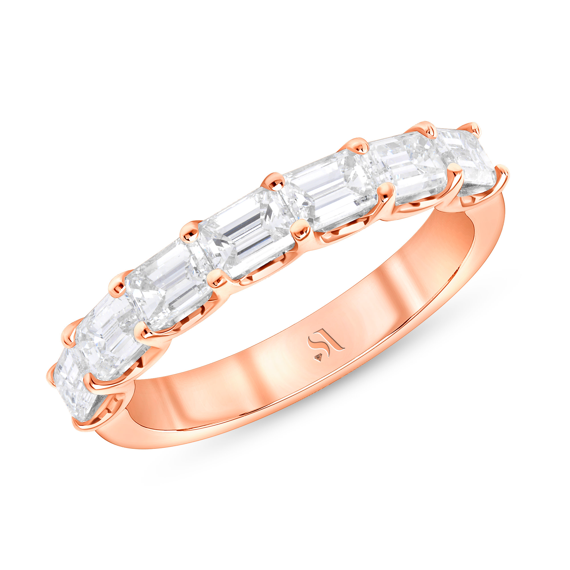 emerald cut diamond half eternity band rose gold