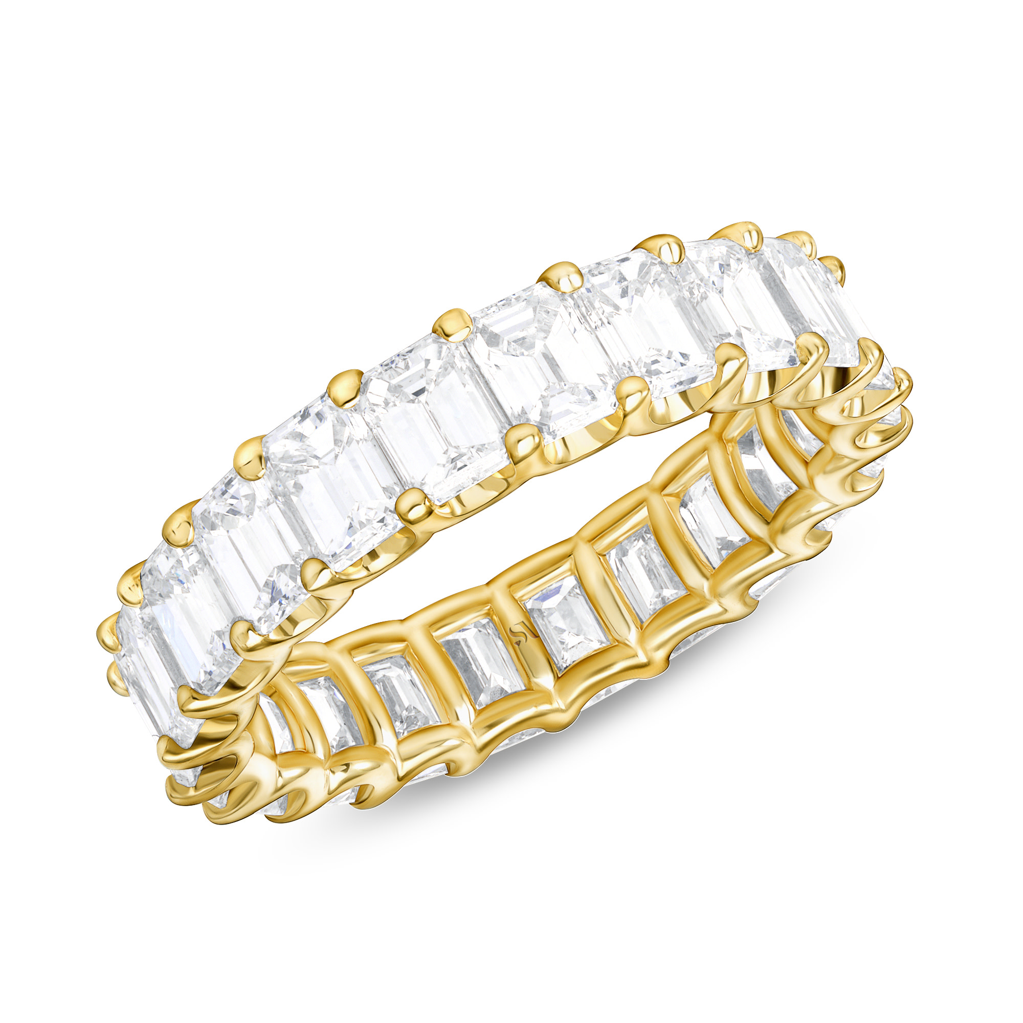 emerald cut eternity band double prong yellow gold