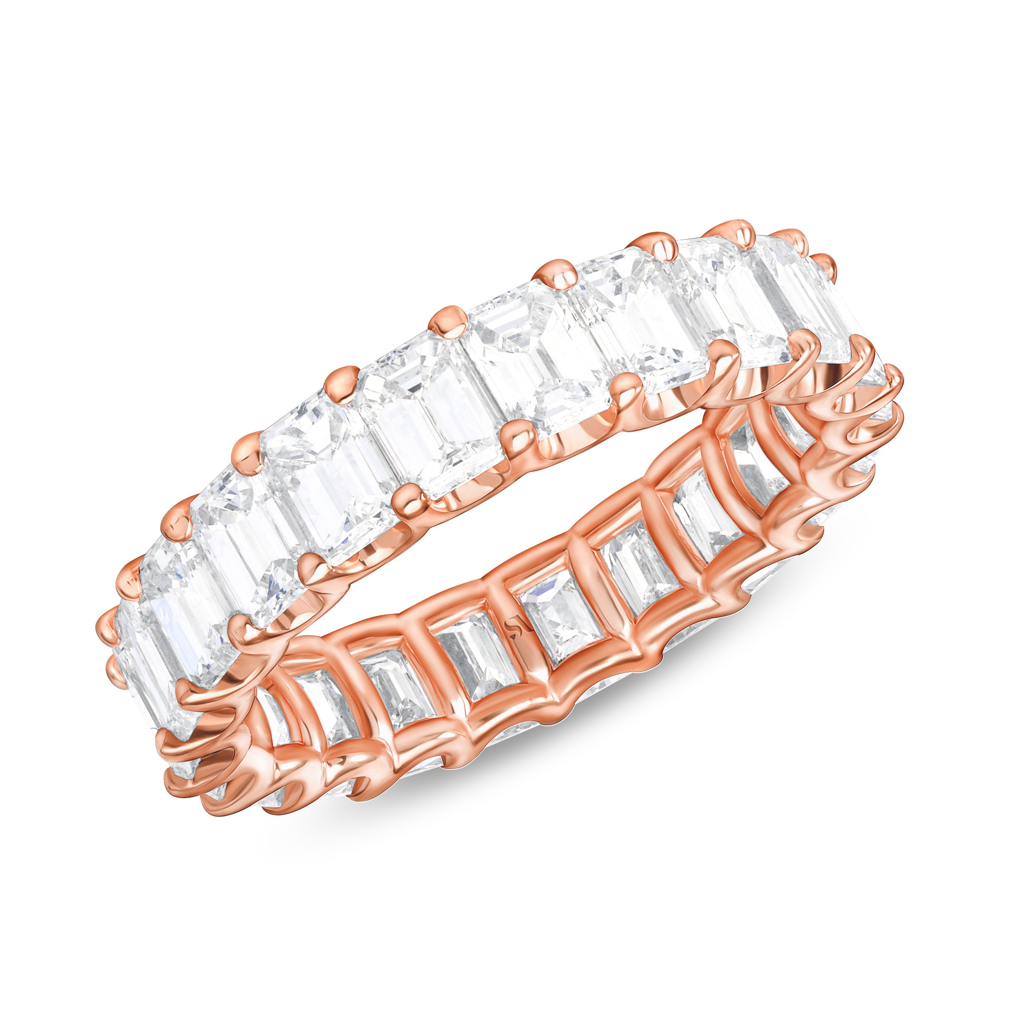 emerald cut eternity band double prong rose gold