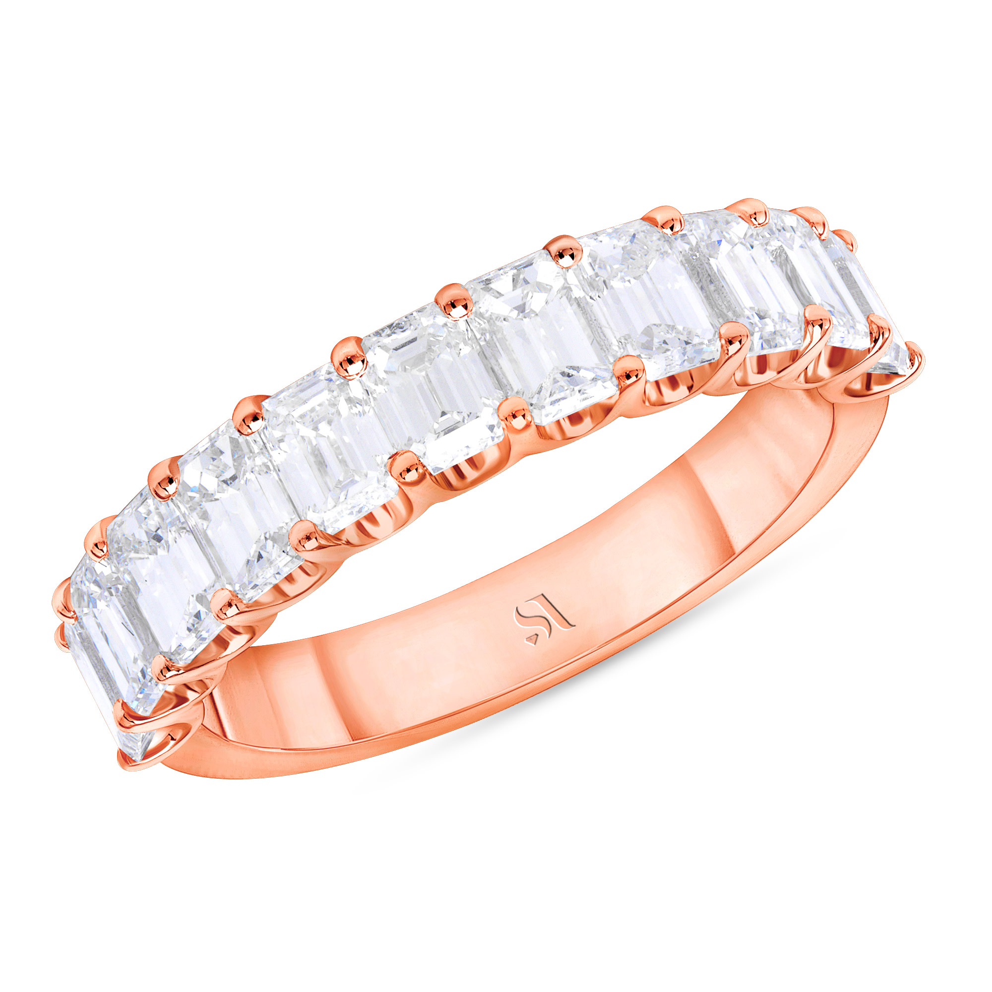 Emerald Cut Diamond Halfway Eternity Band U prongs | Sabrina A Inc