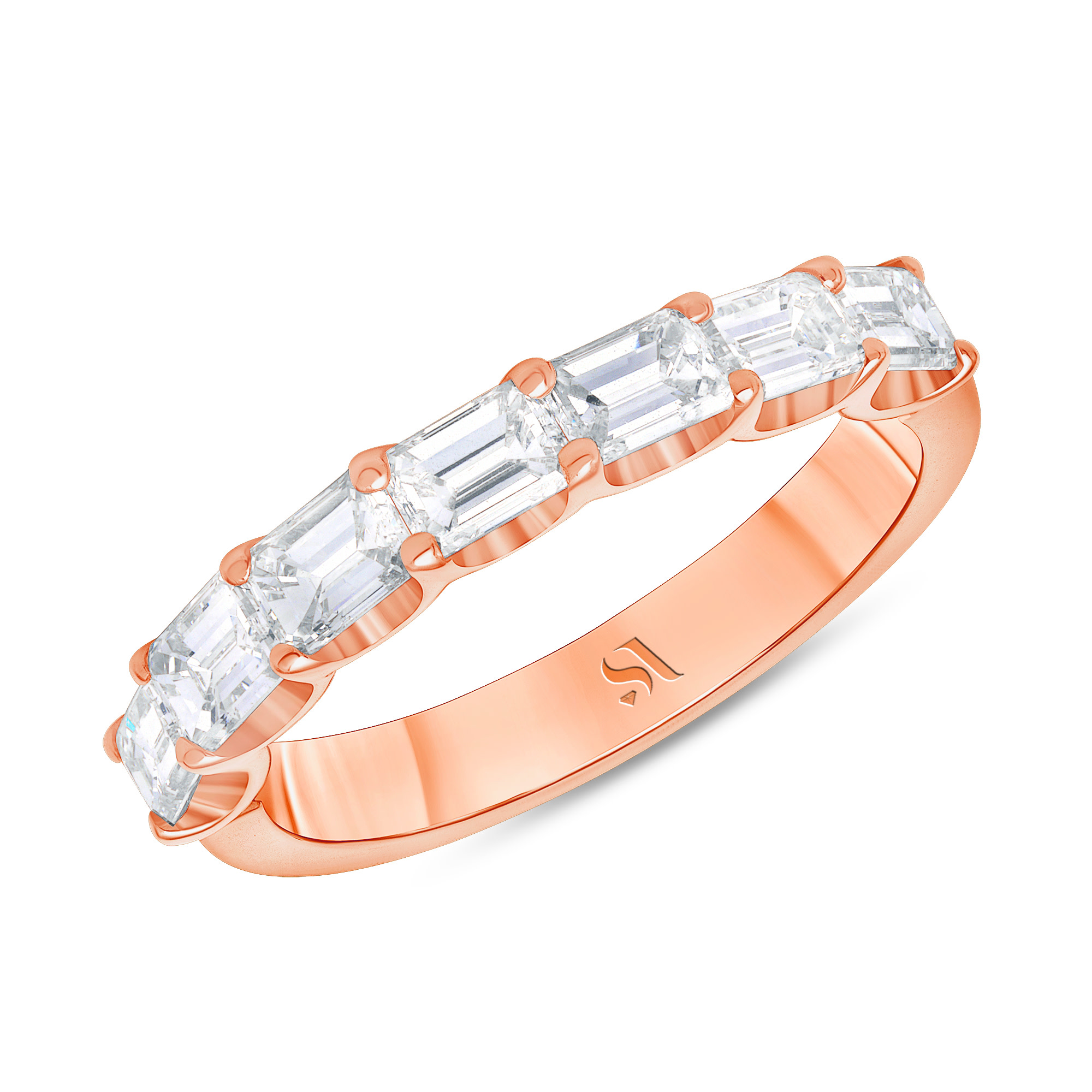 emerald cut diamond half bezel eternity band rose gold