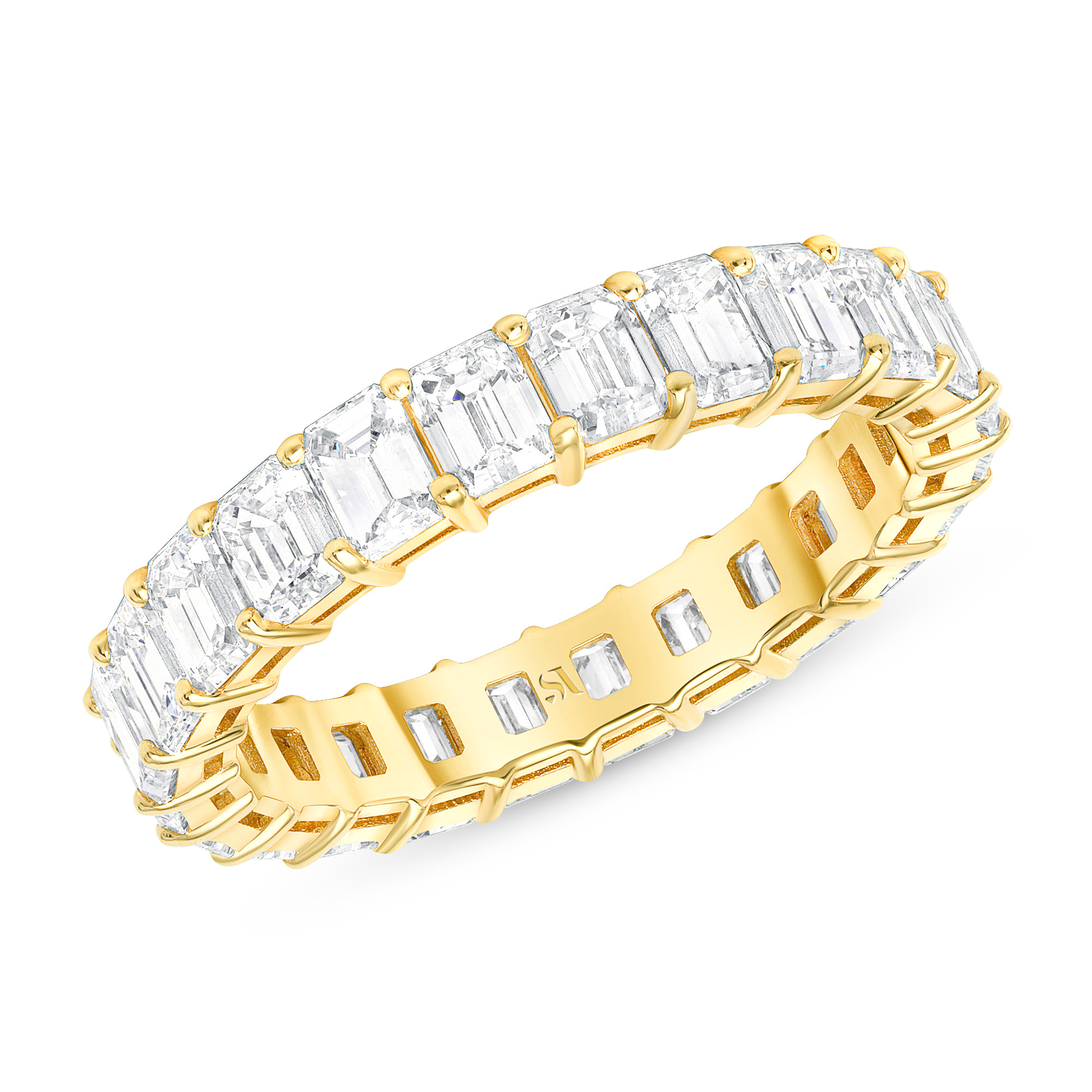 emerald eternity band basket settings in gold
