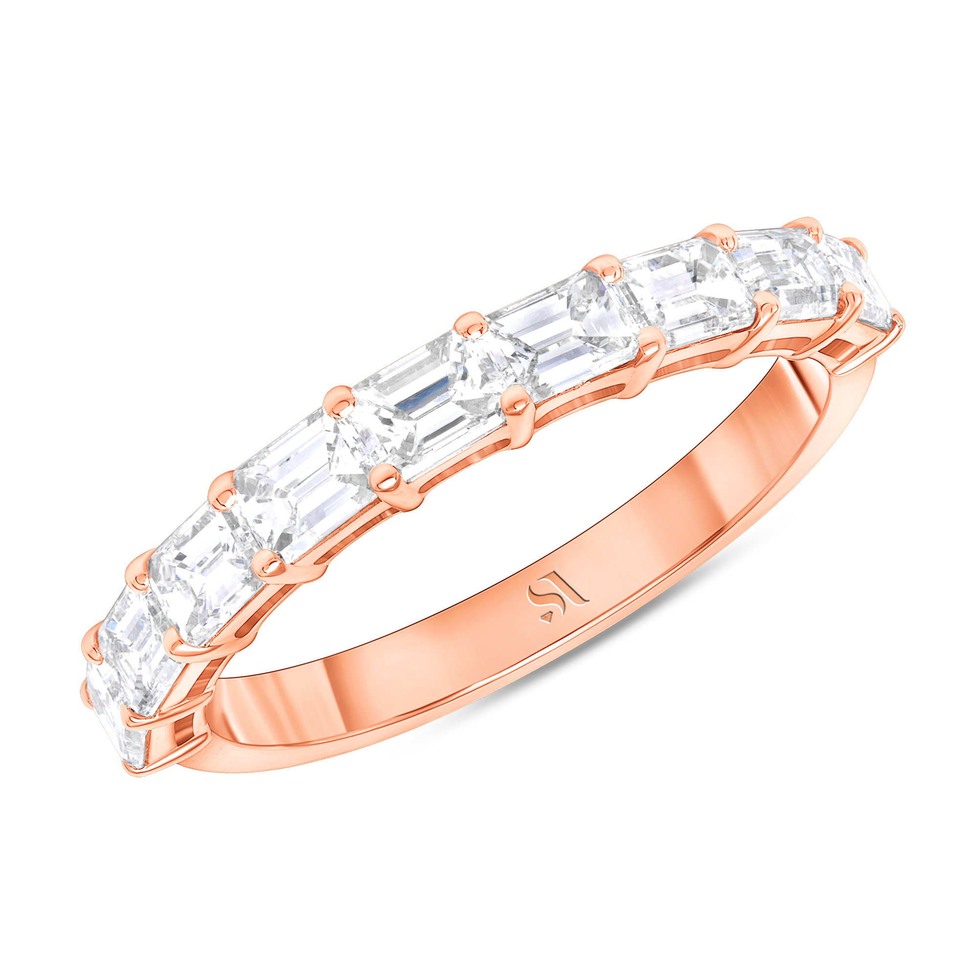 emerald cut eternity band with half in rose gold