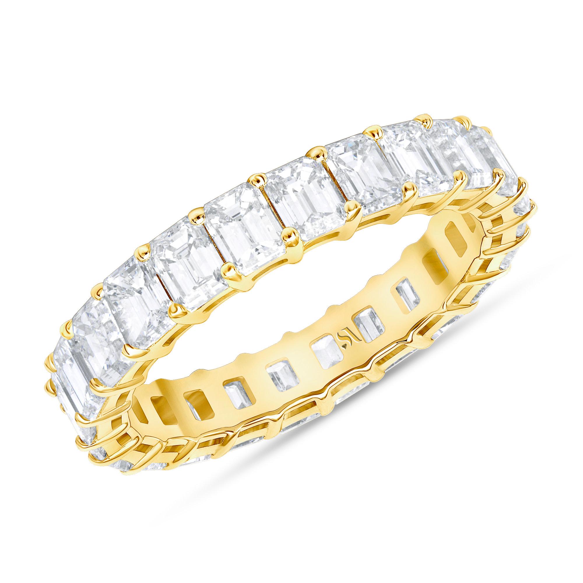diamond emerald cut eternity band in gold