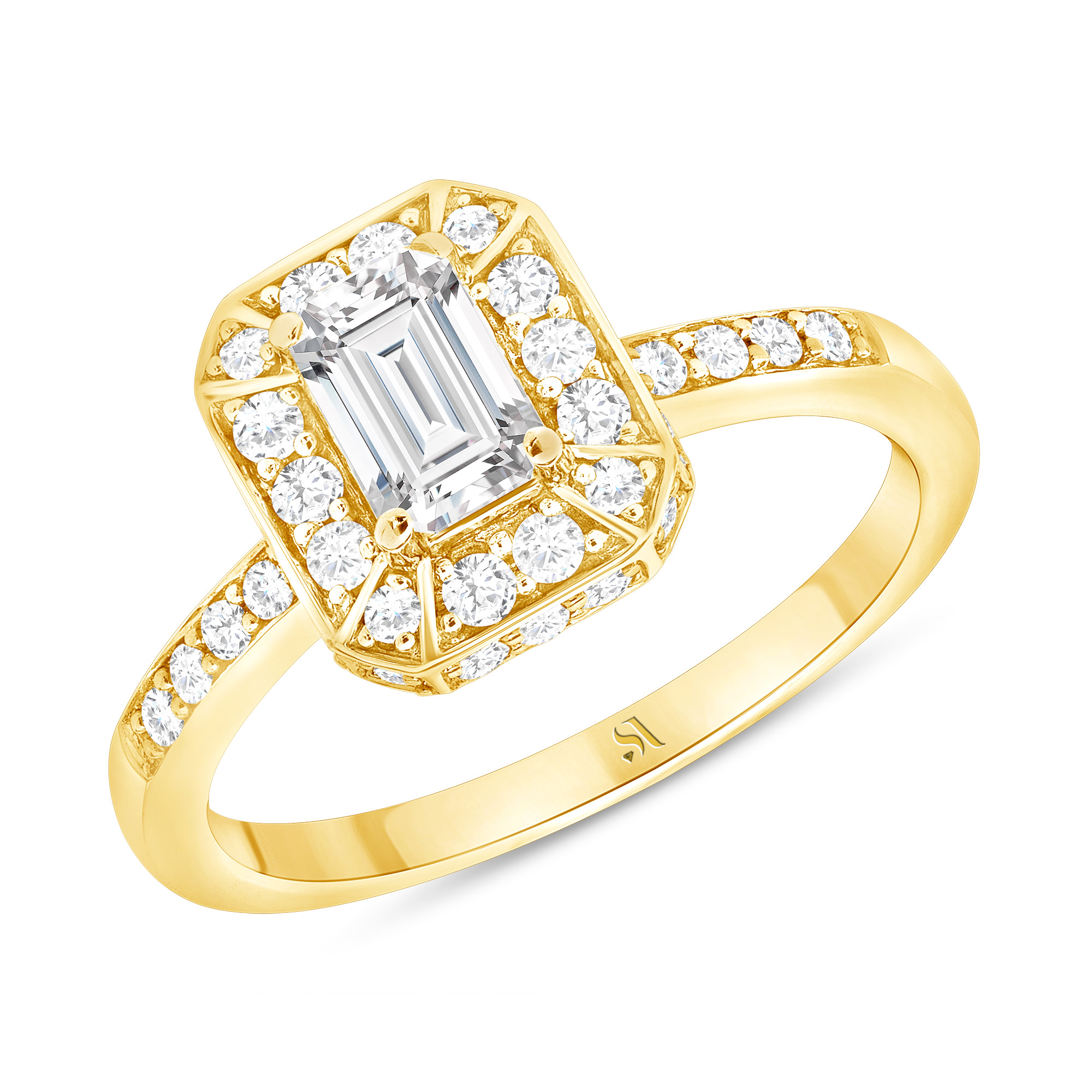 emerald cut diamond engagement ring yellow gold
