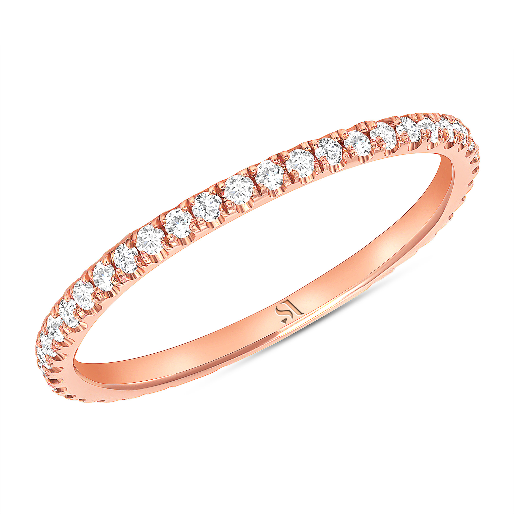 dainty diamond eternity band rose gold