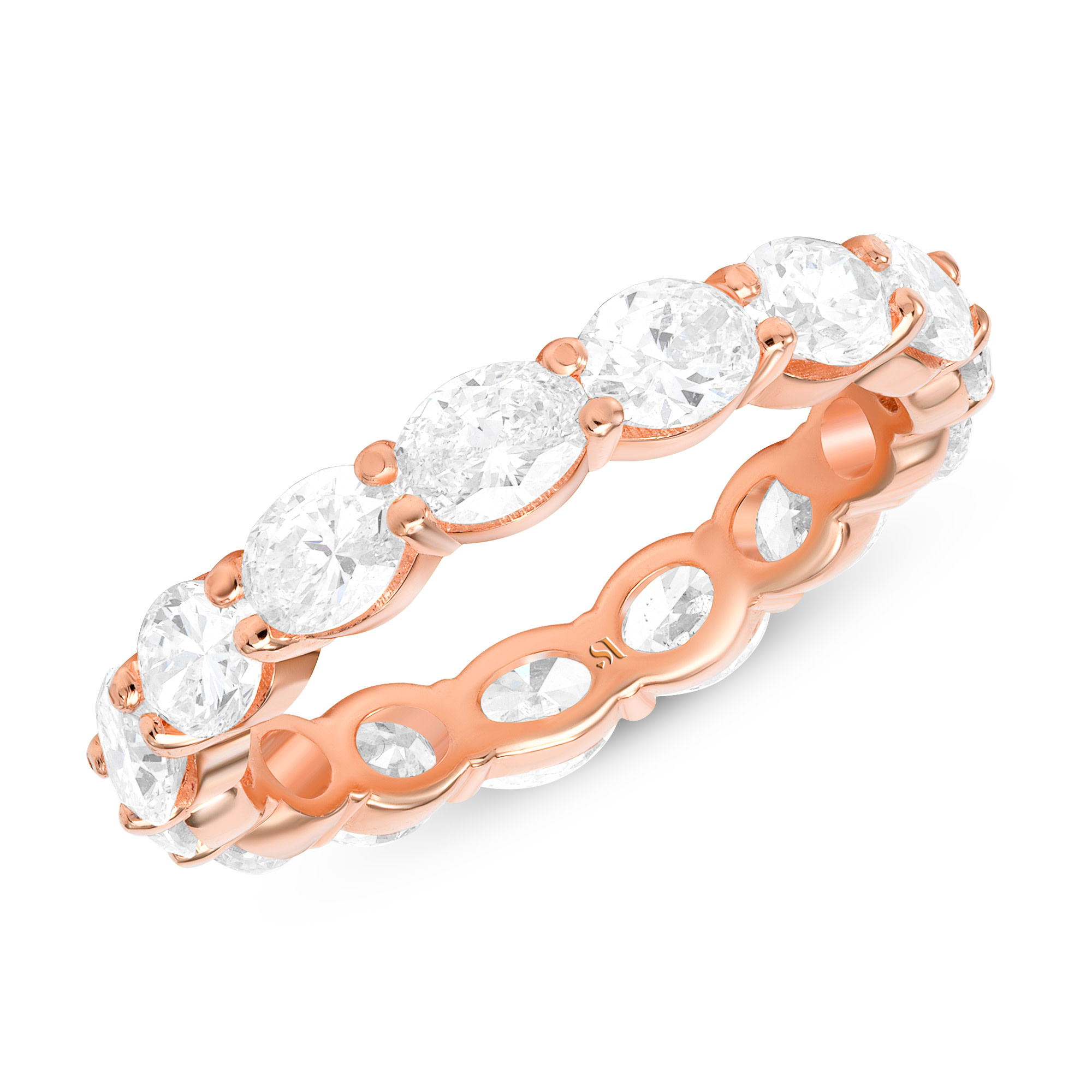 oval diamond eternity band rose gold
