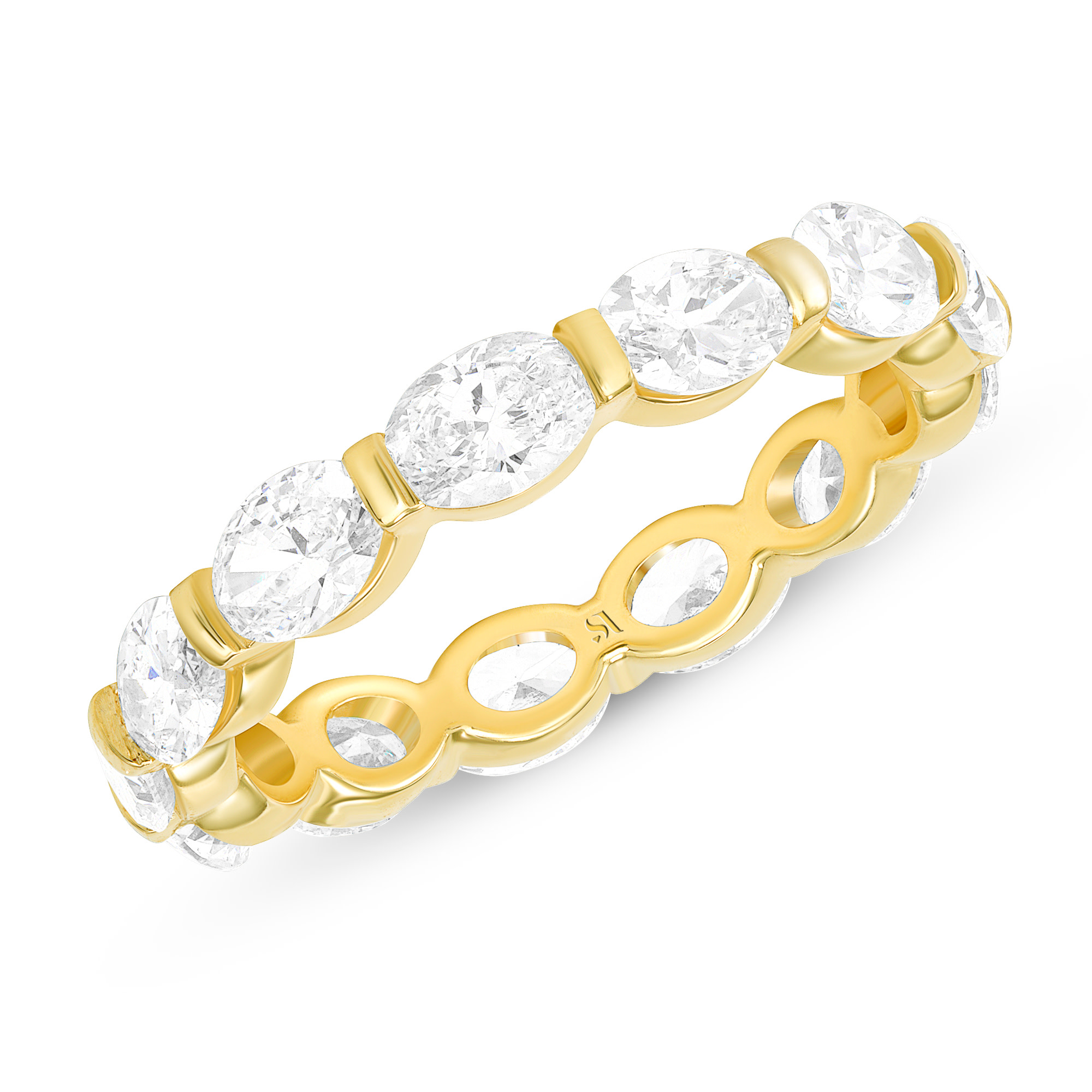 oval cut eternity band gold