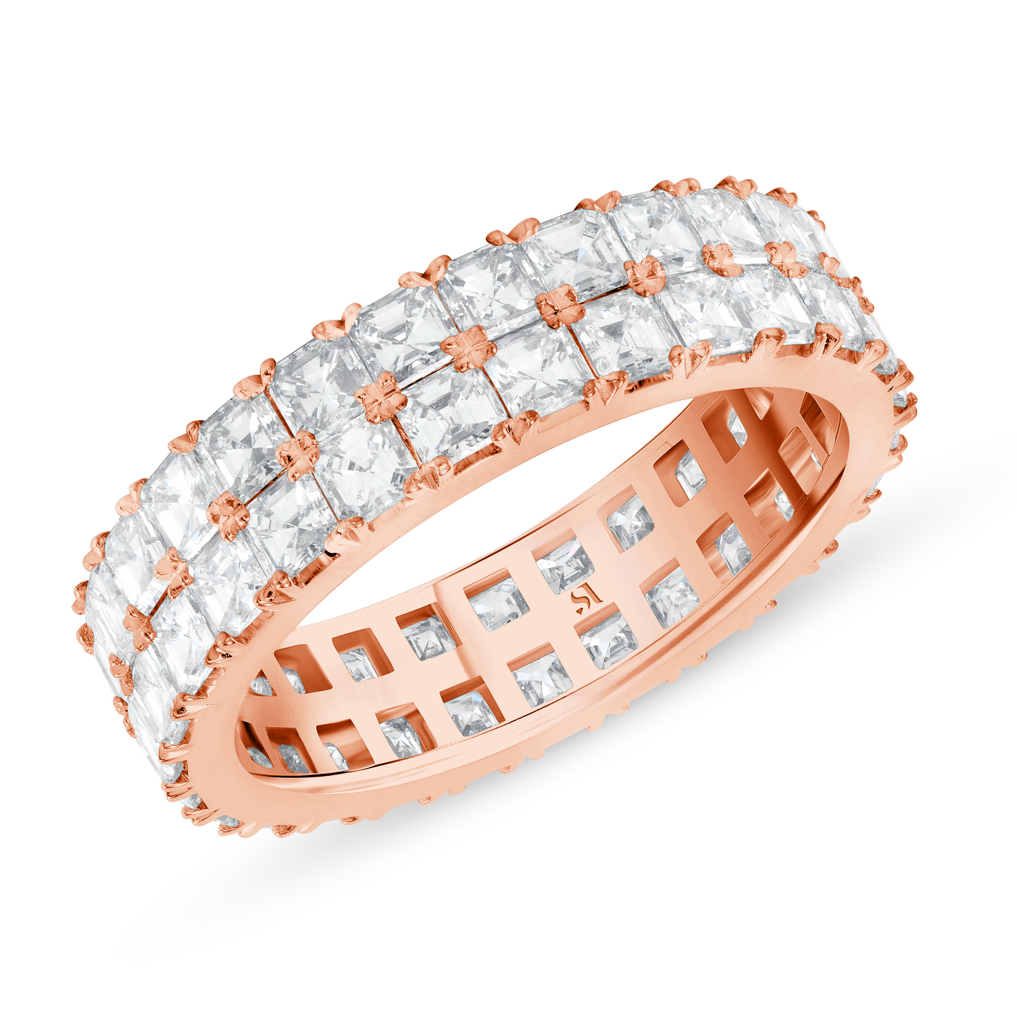 asscher cut eternity band - rose gold