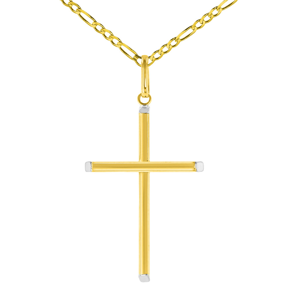 """High Polish 14K Two-Tone Gold Plain Slender Cross Pendant with Chain Necklace, 20"""""""