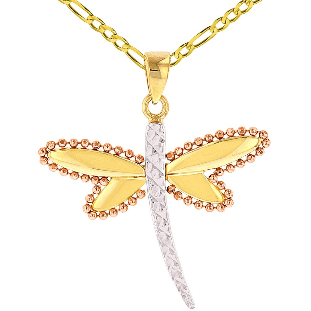 14K Yellow Gold and Rose Gold Milgrain Dragonfly