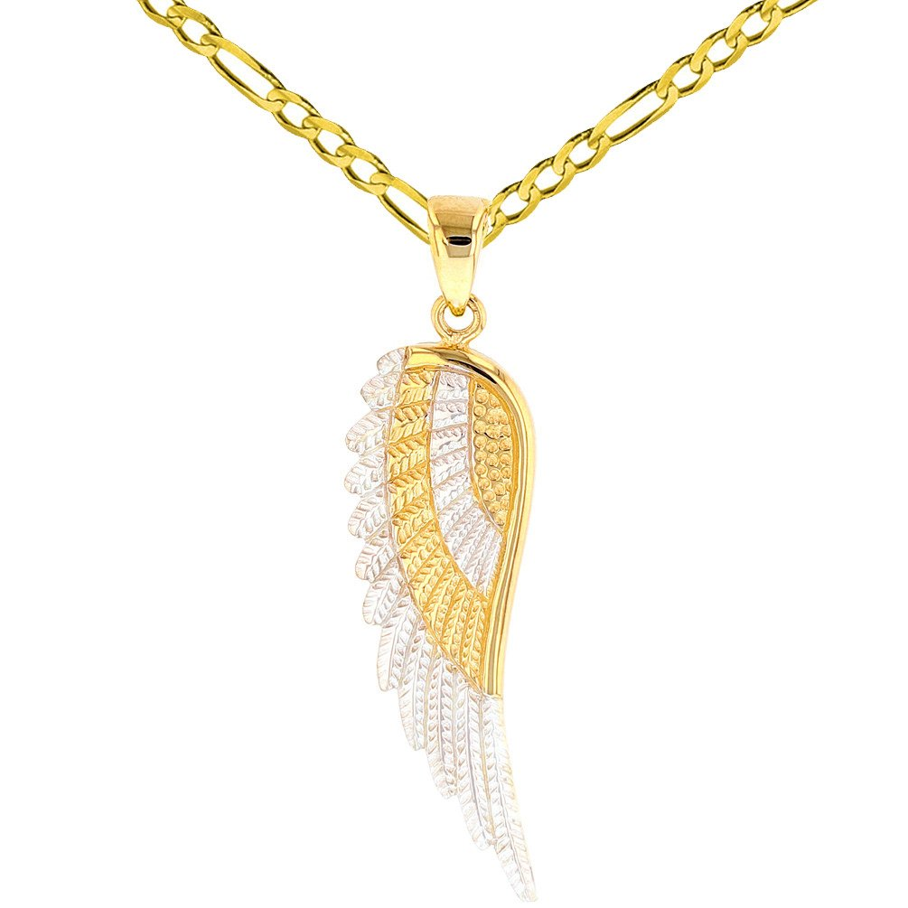 Solid 14k Yellow Gold Textured Angel Wing