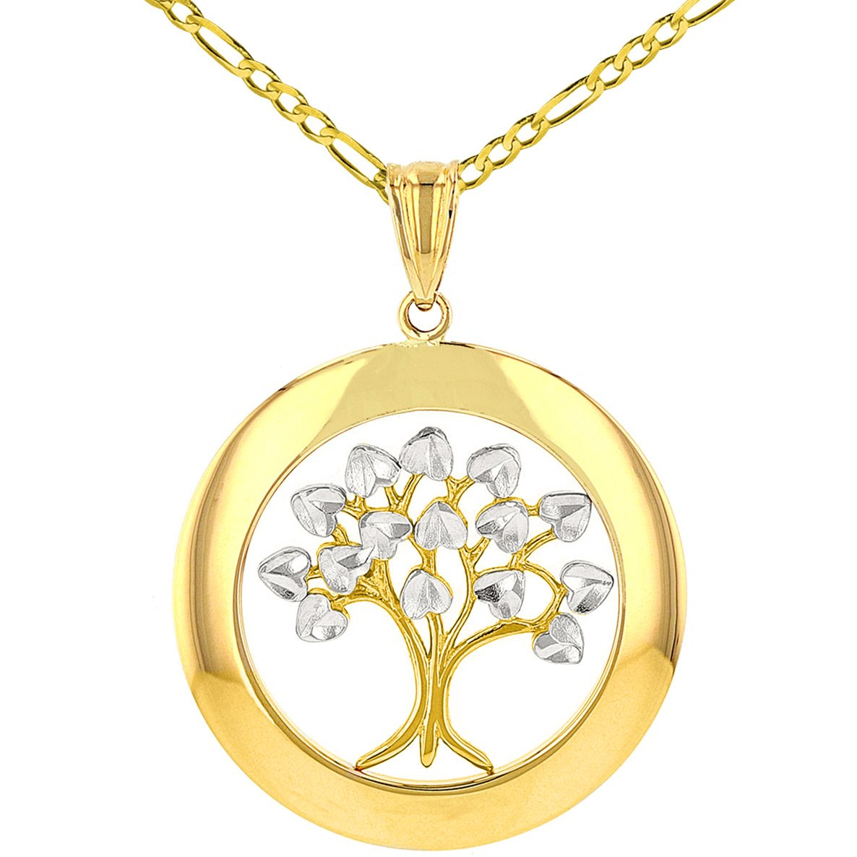 14K Yellow Gold Round Tree of Life