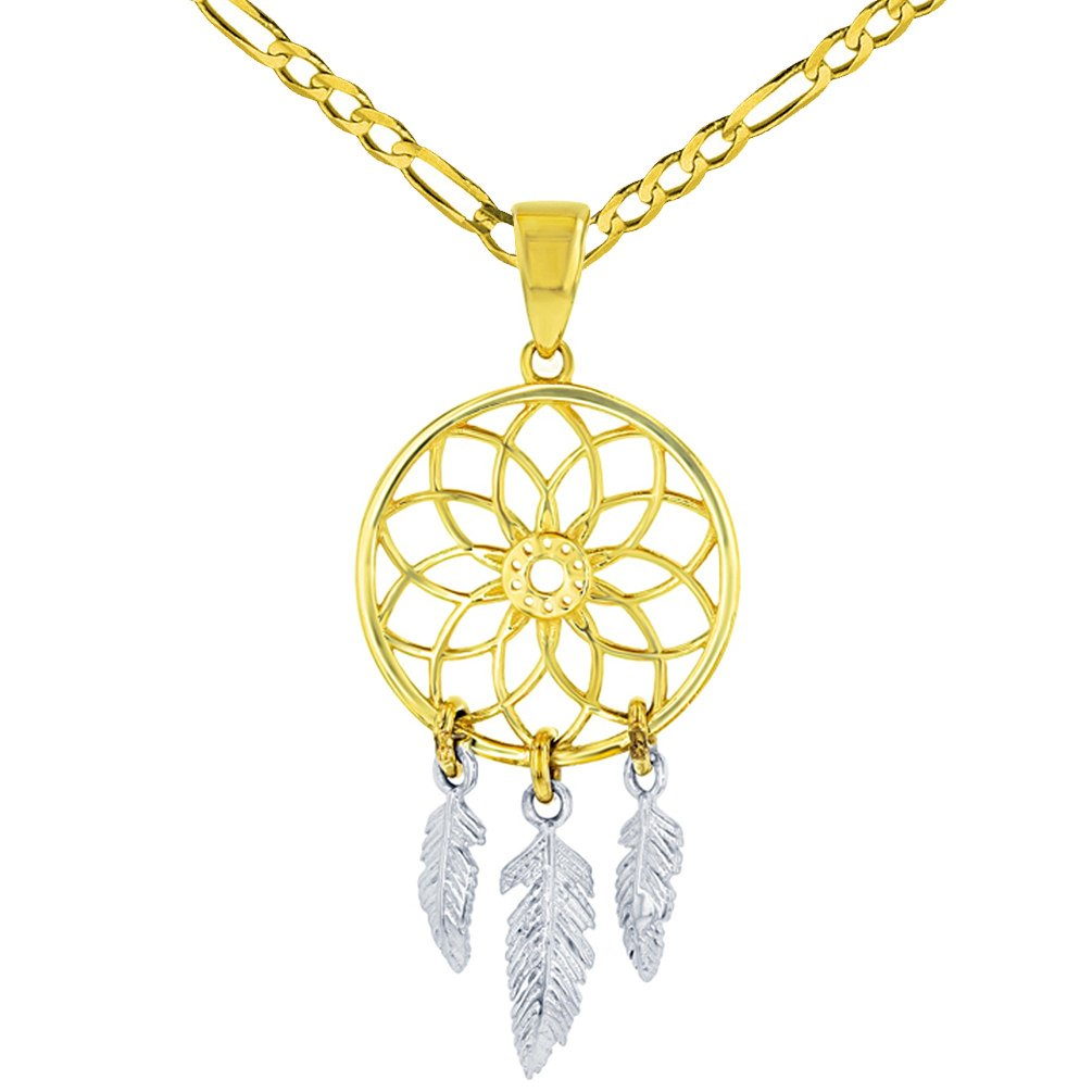 Solid 14K Two-Tone Gold Native American Dreamcatcher