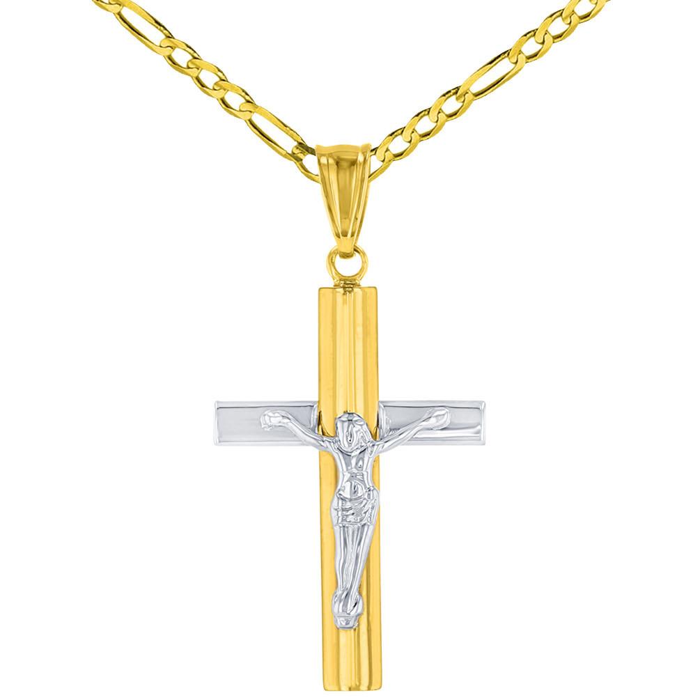 14K Yellow Gold & White Gold Passion Cross Pendant