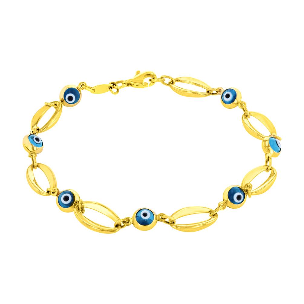 14K Yellow Gold Blue Evil Eye Open Chain Link