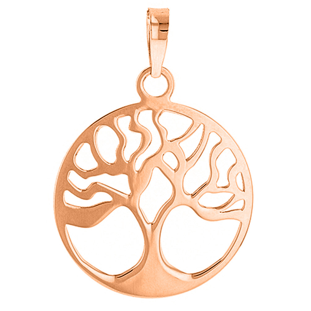 Solid 14k Rose Gold Simple Round Tree of Life Charm Pendant