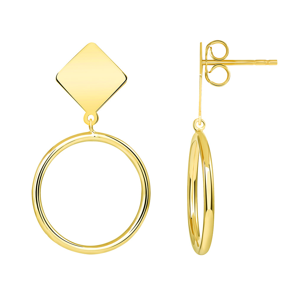gold dangle hoop earrings