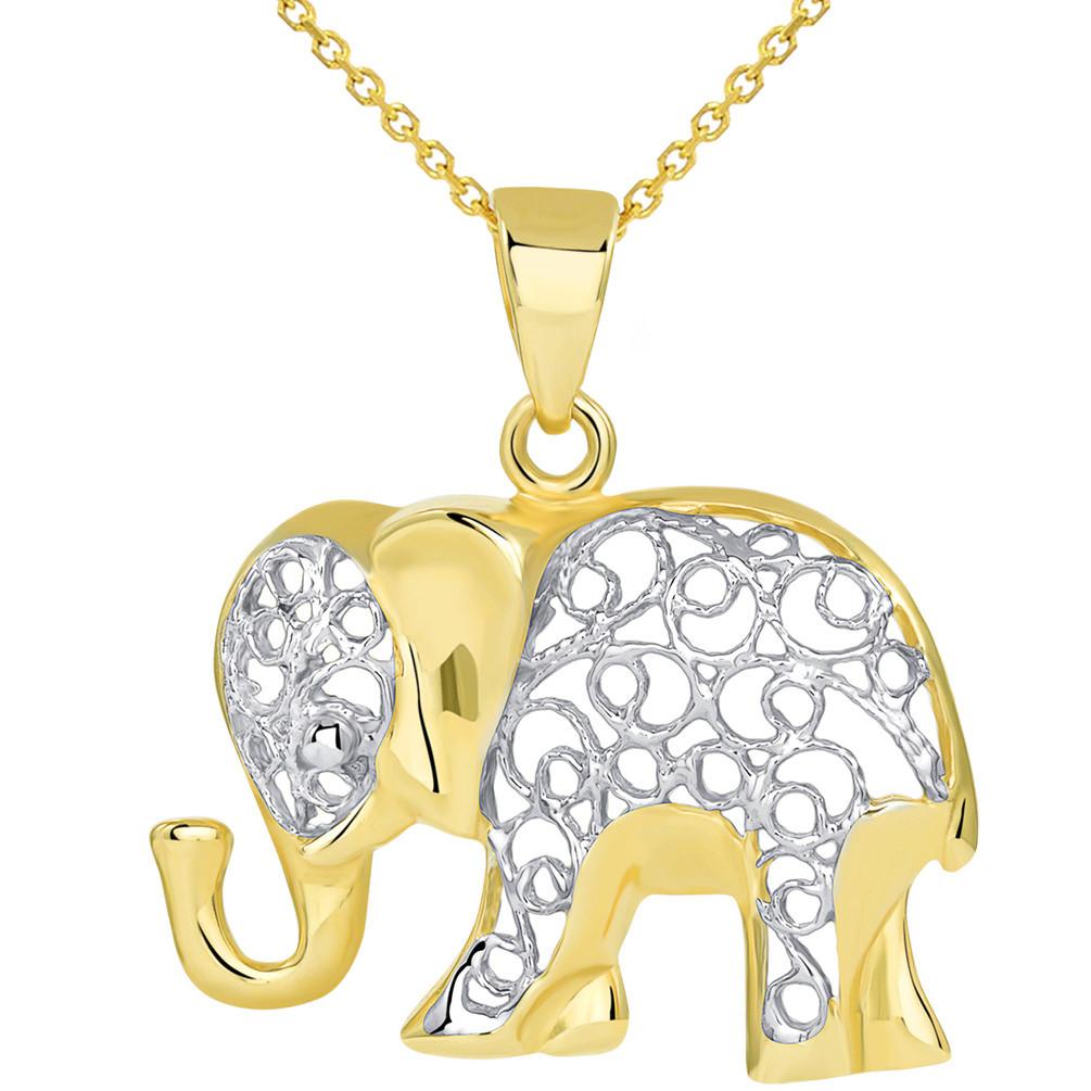 14k Yellow Gold Elegant Filigree Two Tone Elephant Pendant Necklace