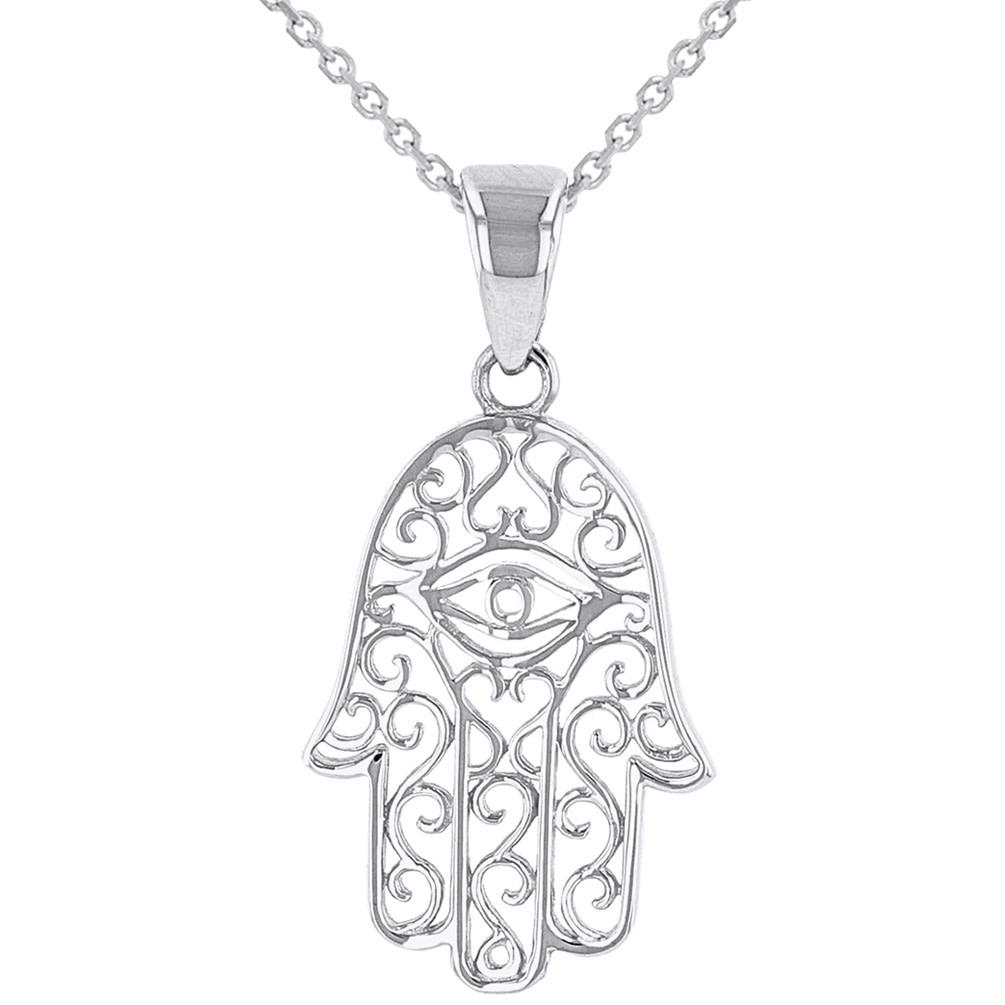 14K White Gold Filigree Hamsa Hand of Fatima with Evil Eye Pendant Necklace
