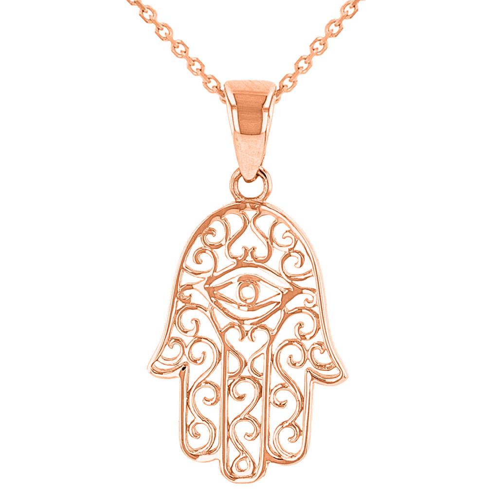 14K Rose Gold Filigree Hamsa Hand of Fatima with Evil Eye Pendant Necklace