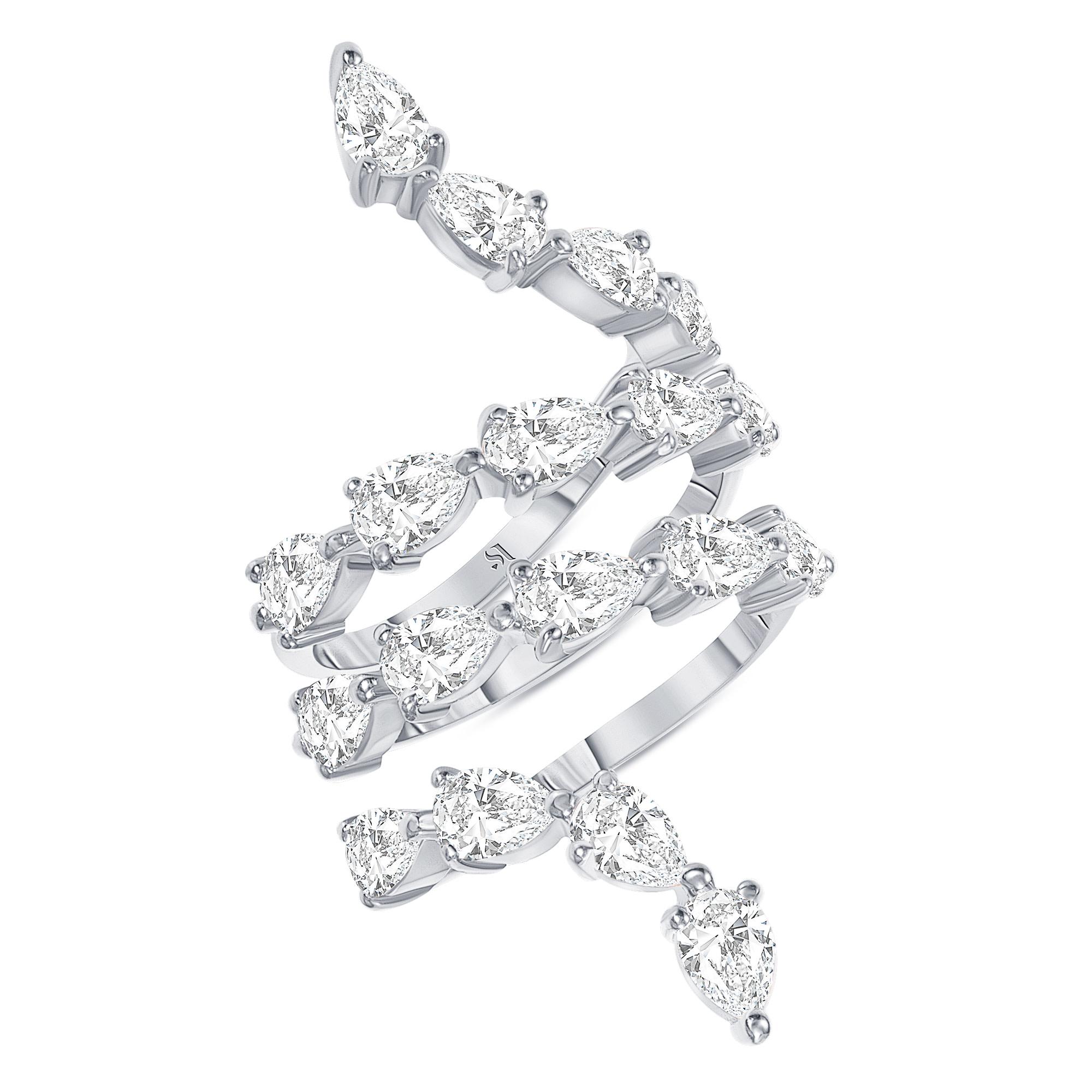 Spiral Pear Shape Diamond Ring | Sabrina A Inc