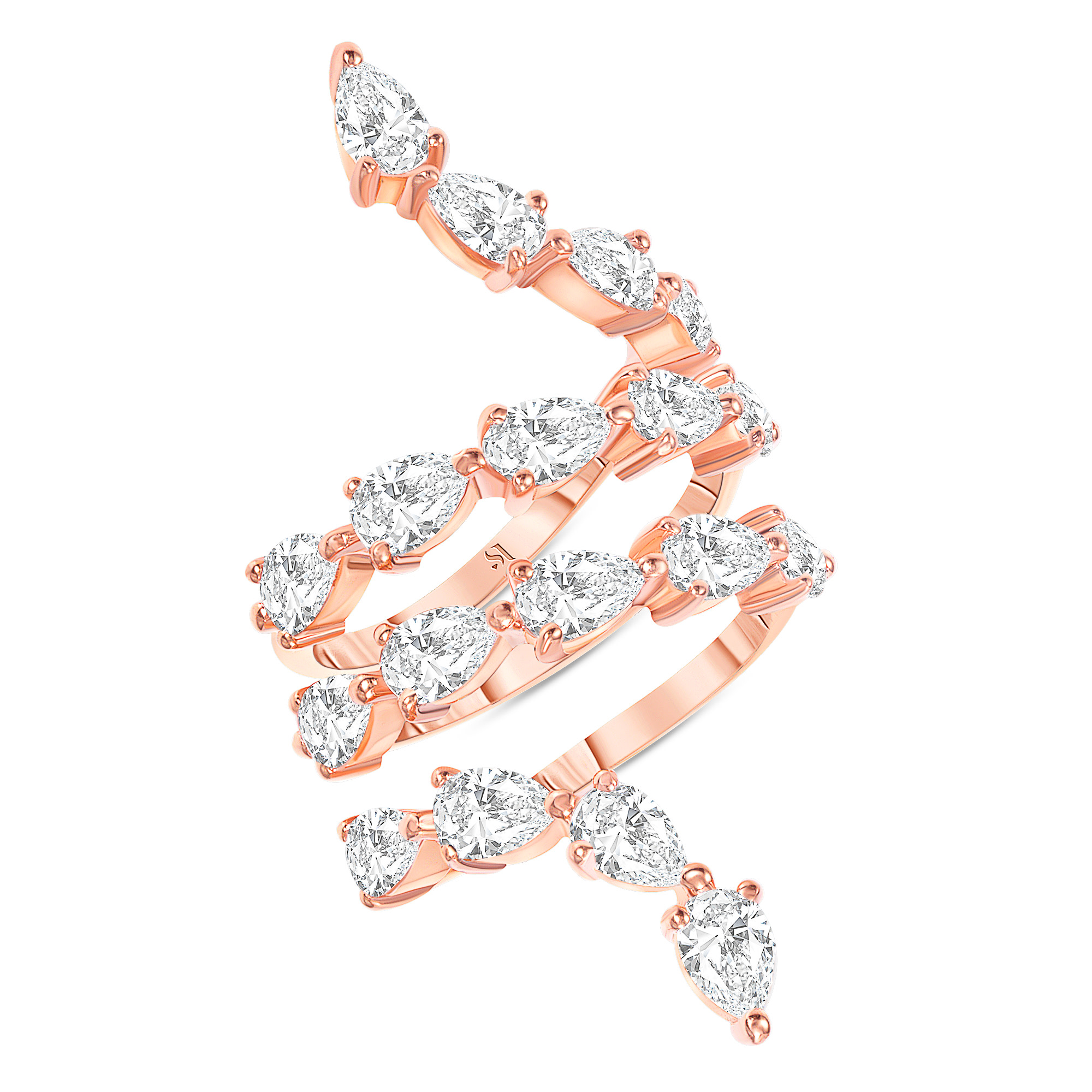 Spiral Pear Shape Diamond Ring Rose Gold