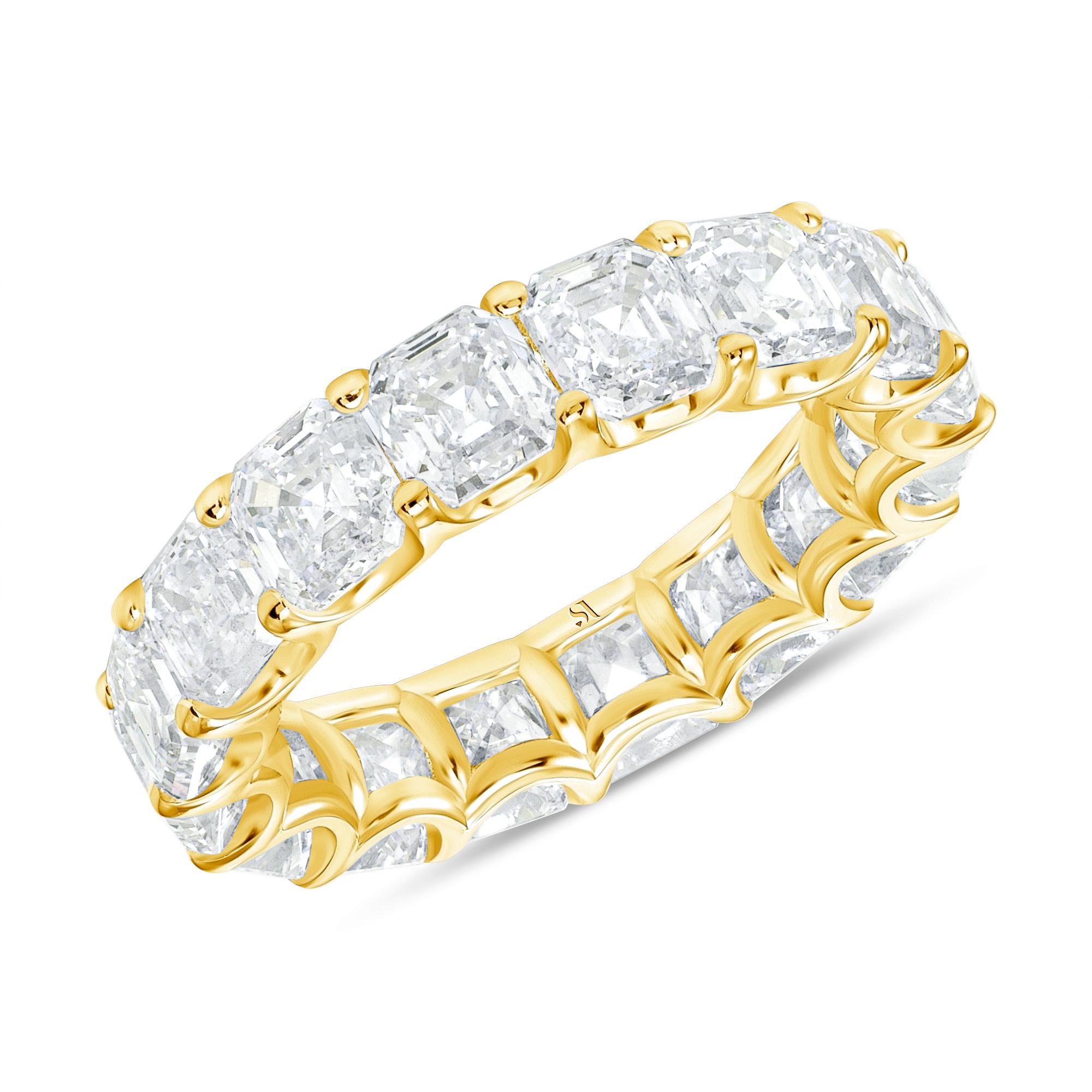 Asscher Eternity Band Yellow Gold