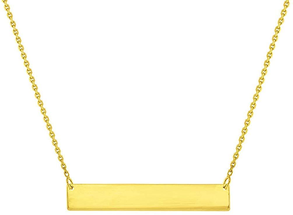 Gold engravable bar necklace