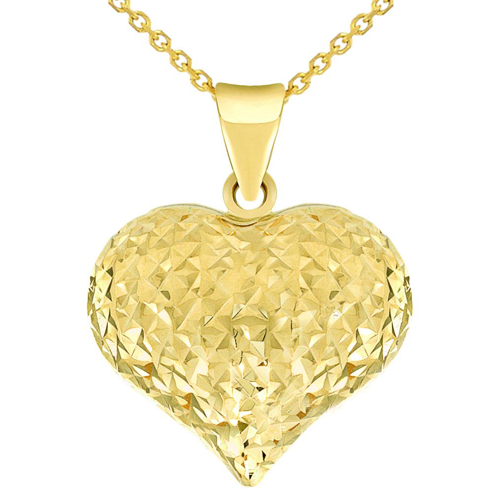 gold puffed heart charm