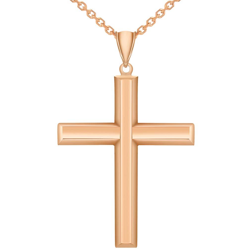 14k Rose Gold Cross Pendant Necklace