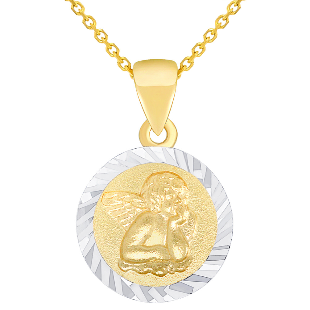 Solid 14K Yellow Gold Round Guardian Angel