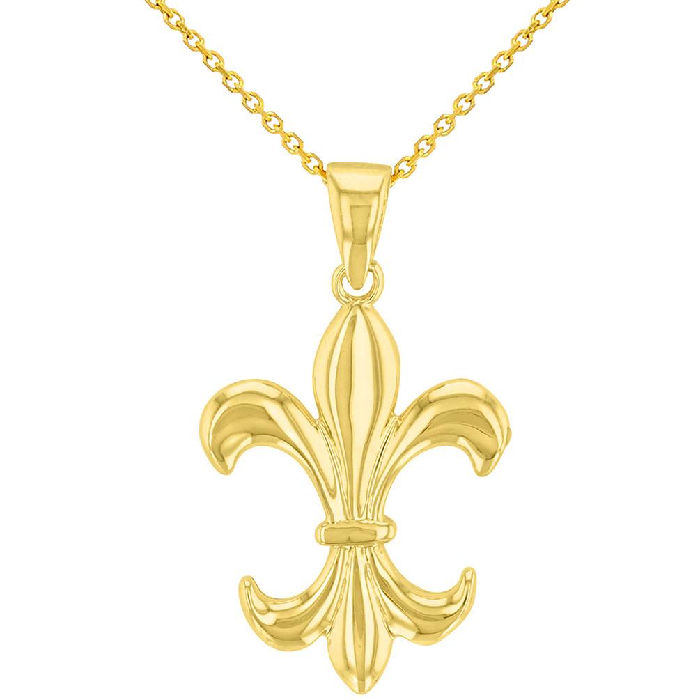 Gold Simple Fleur de Lis Charm Pendant Necklace
