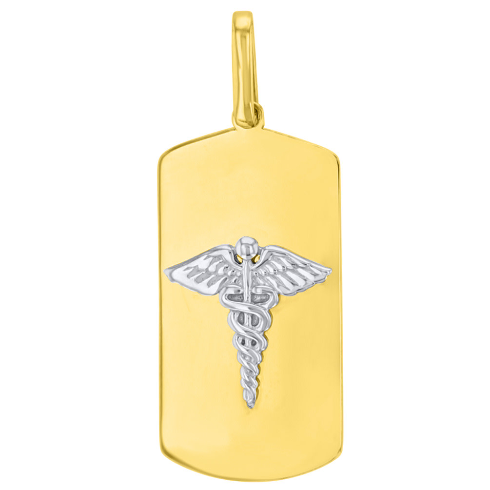 Solid 14K Two Tone Gold Caduceus Charm Medical Symbol Pendant with Figaro Chain Necklace