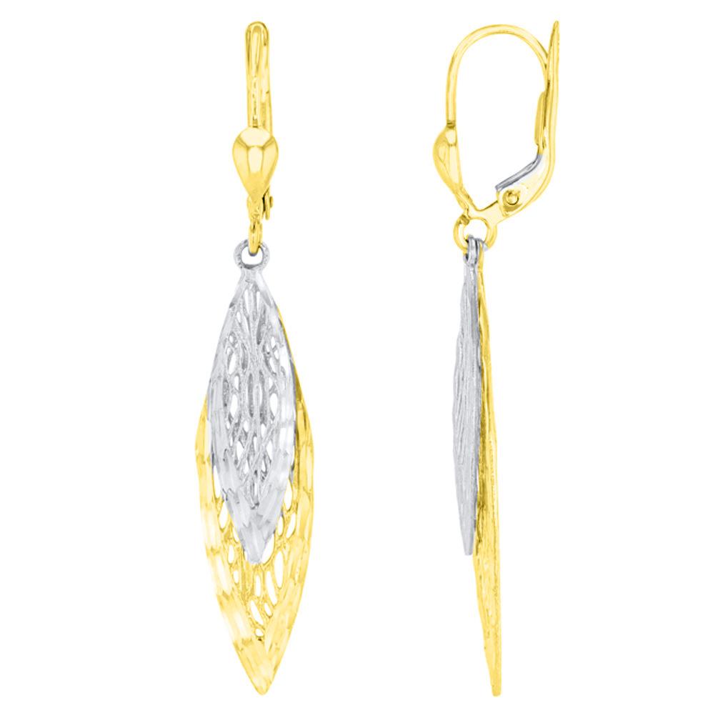 Double Leaf Drop Dangle Earrings