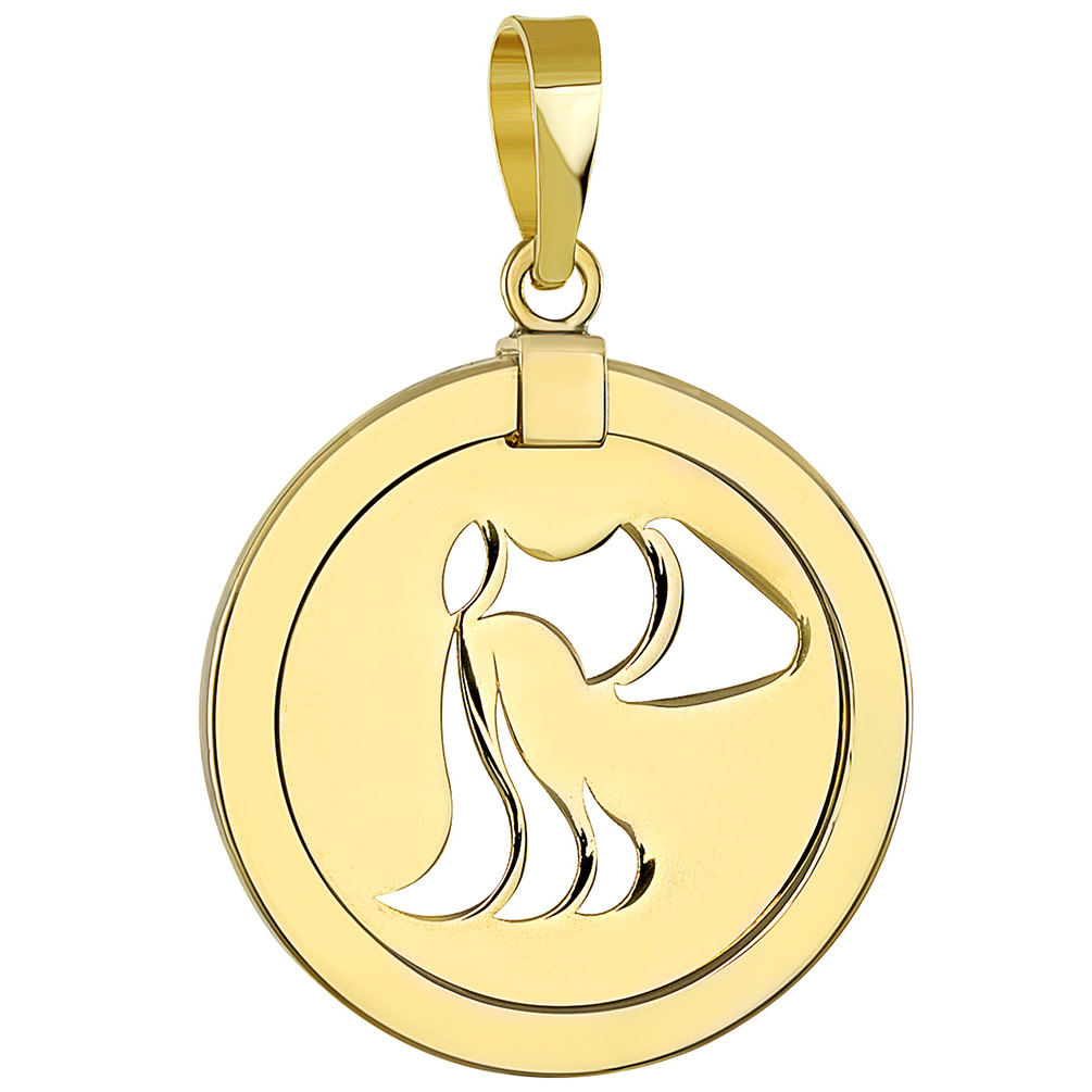 14K Yellow Gold Reversible Round Aquarius Zodiac Sign Pendant
