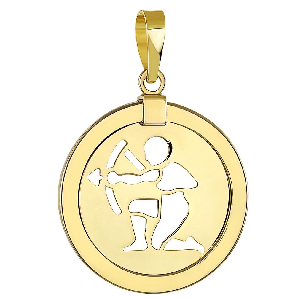 14k gold sagittarius zodiac pendant